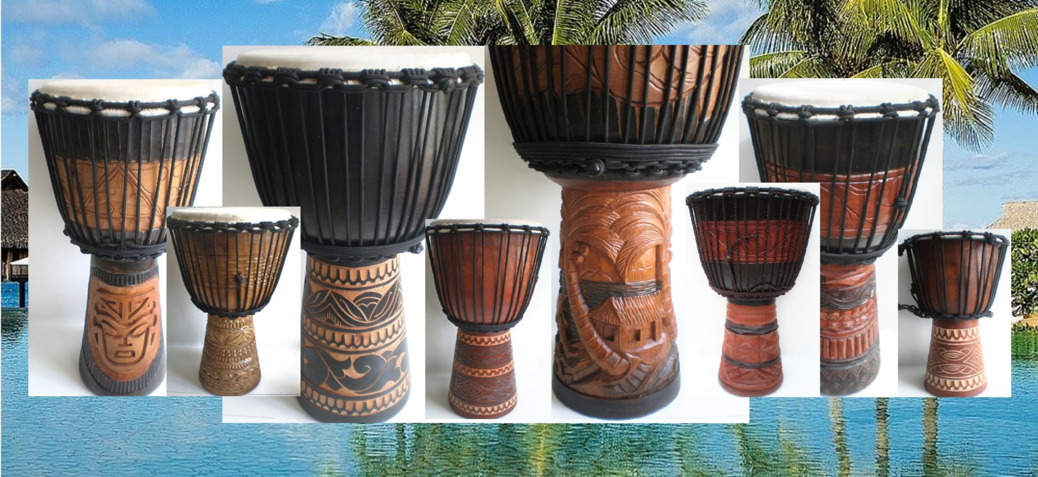 Djembe drums Adelaide Australia Bali Balinese mahogany wood 65 60 50 40 30 25 20cm