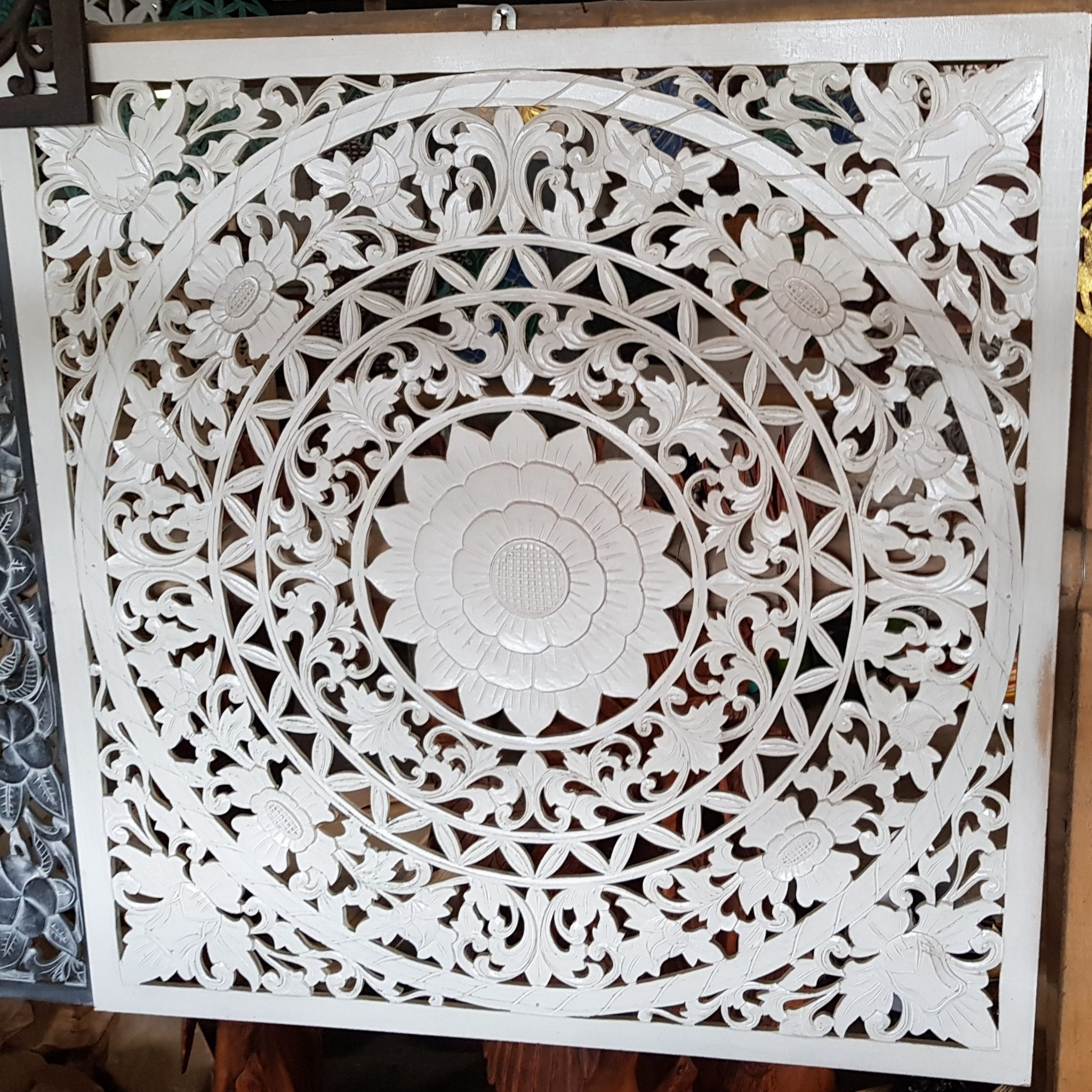 wall hanging mandala art carving wood white wash Bali Balinese Tropical Scene Adelaide Australia 100cm