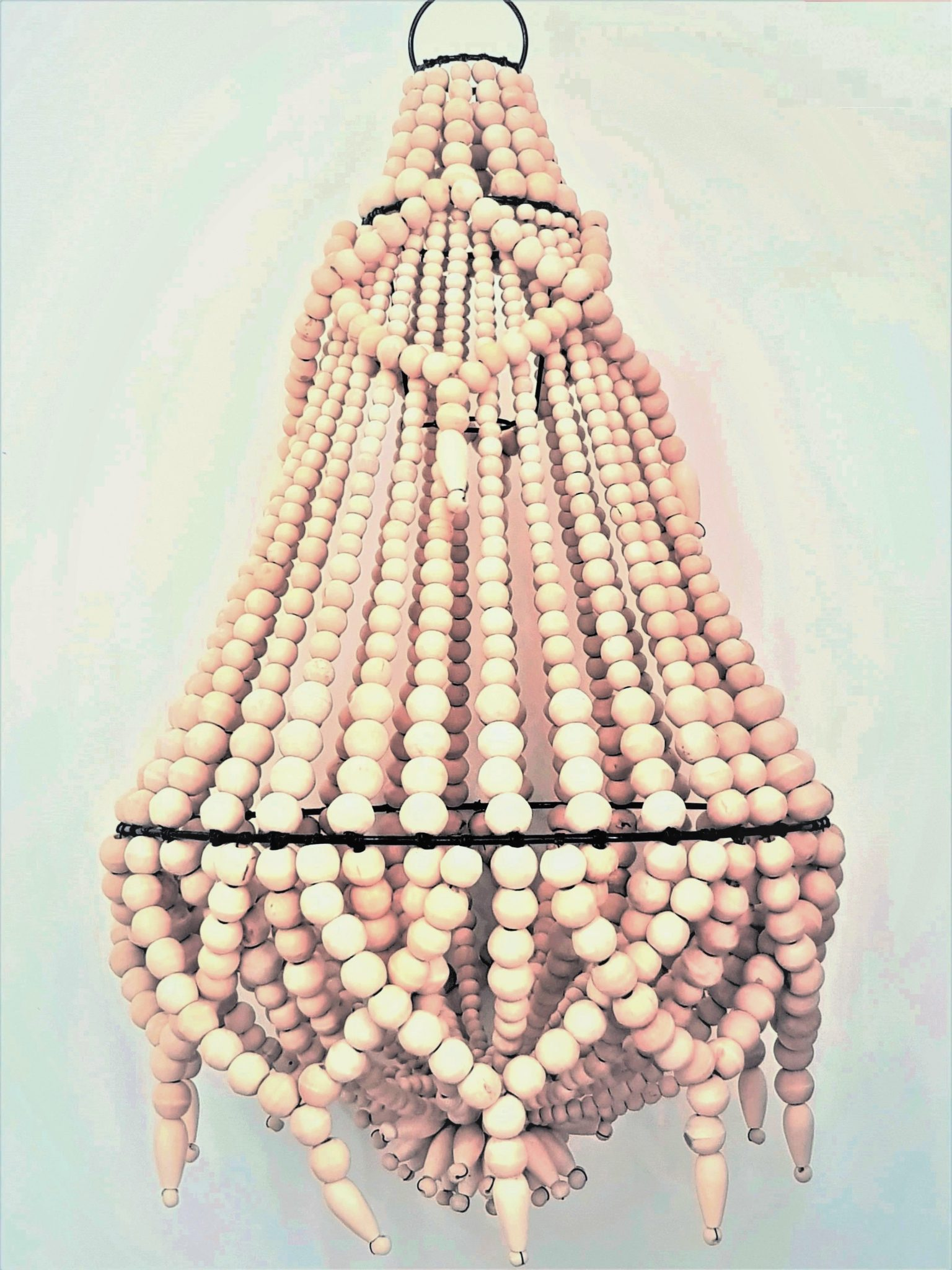 wood bead chandelier boho french country celing light