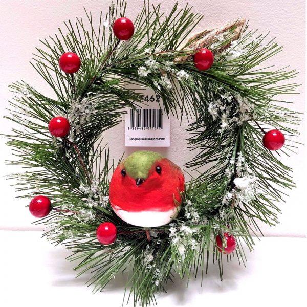 Christmas tree ornament door wreath red robin