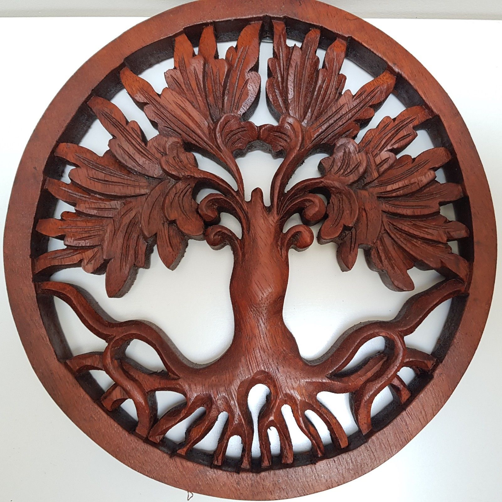Tree of life wood carving wall hanging carved wooden